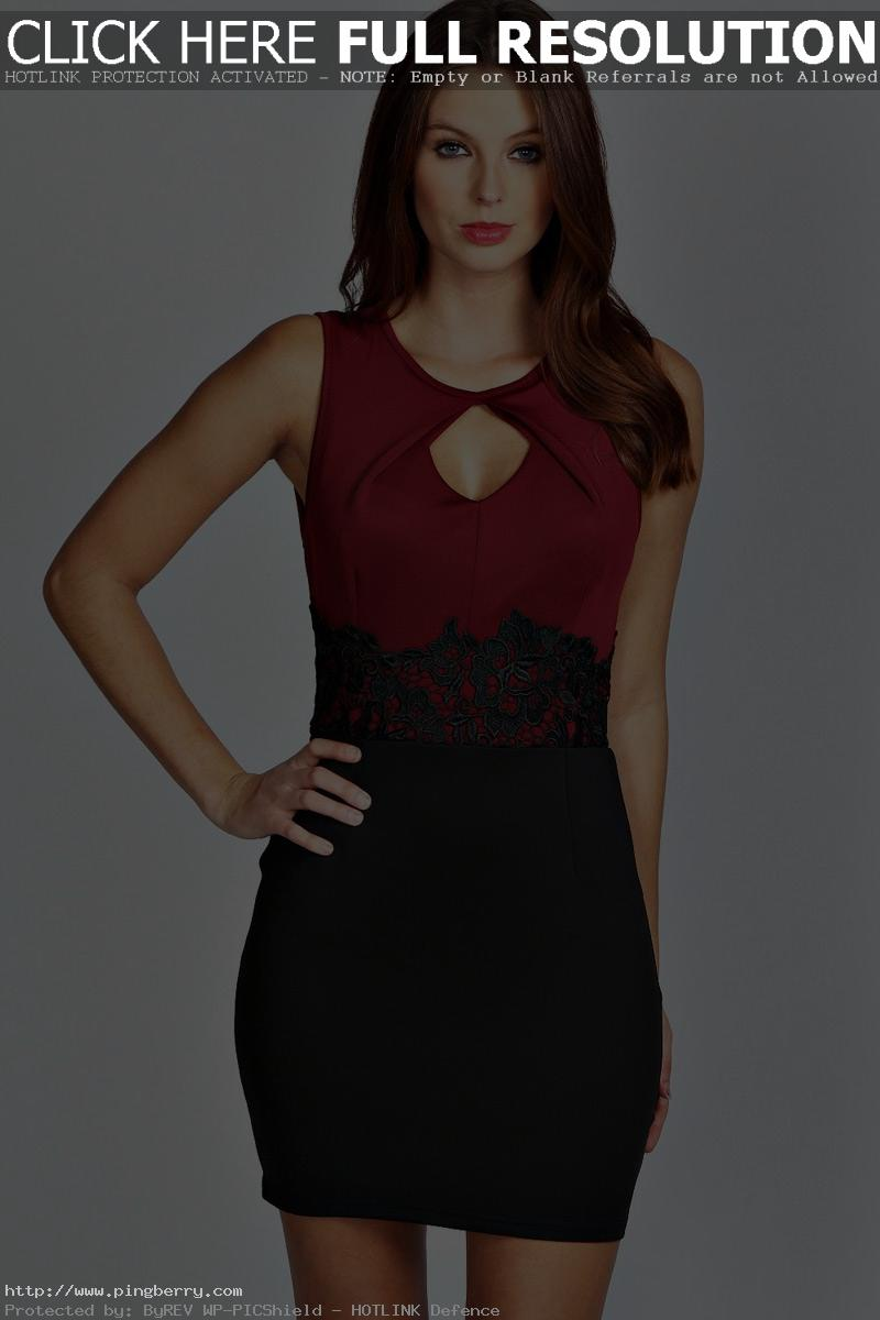 Red Office Lady Embroidery Bodycon Casual Mini Dresses