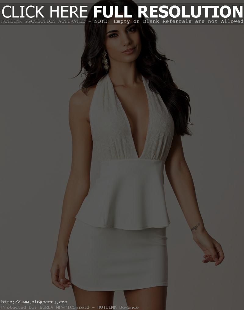 White New Fashion Women Elegant Lace Floral Embroidered Halter Deep V Backless Peplum Dress Sexy Club Party Mini Peplum Dress