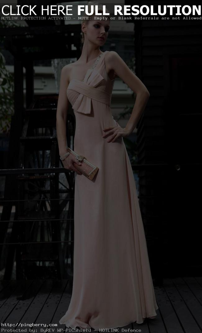 composite filament with silver stamping a line one shoulder beige prom dress