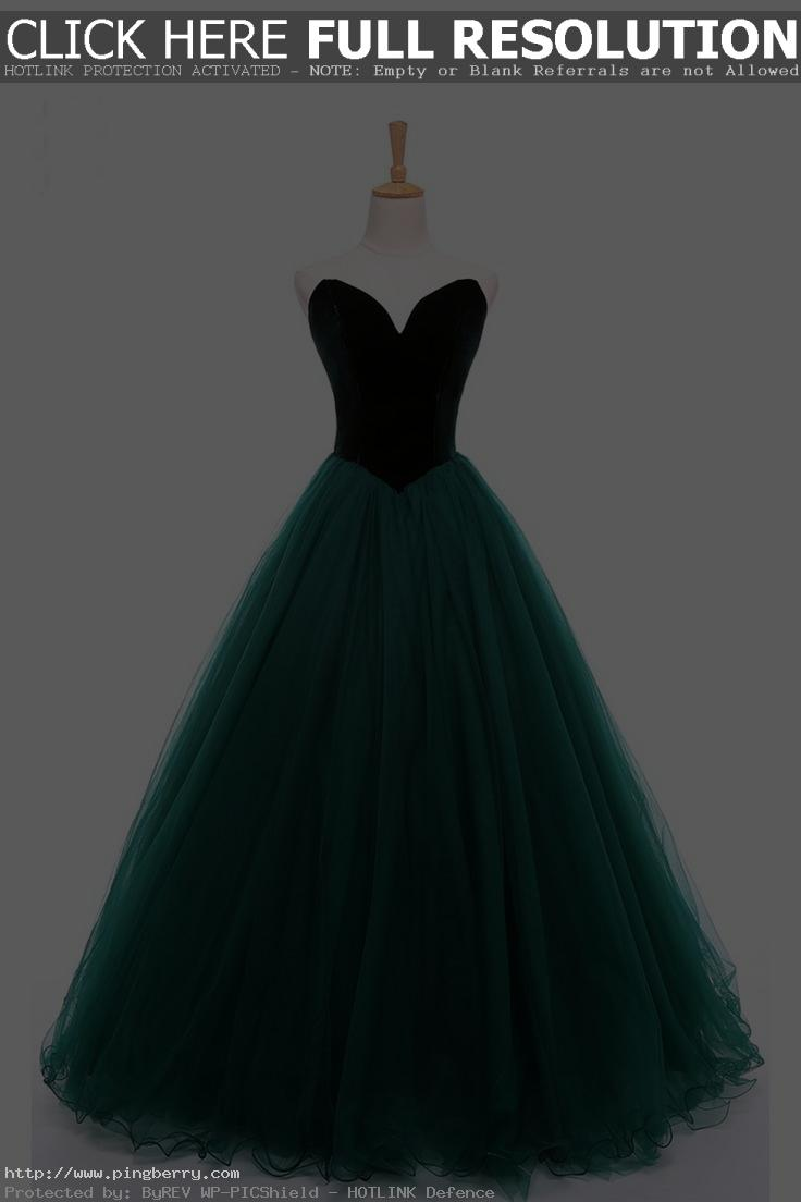Deep green tulle prom dress with velvet top, sweetheart prom dress, ball gown 20...
